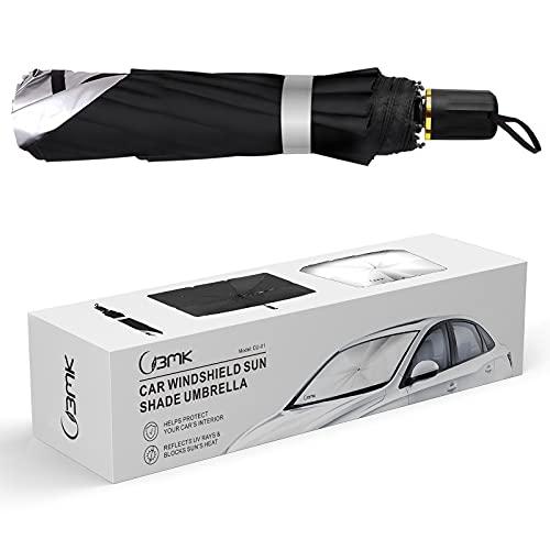 BMK Car Windshield Sun Shade Umbrella, Blocks UV Rays Reflecting Car Front Window Foldable Umbrella Block Heat and Sun for car Truck SUV Keeps Vehicle Cool, Protecting Car Interior(31X57IN)