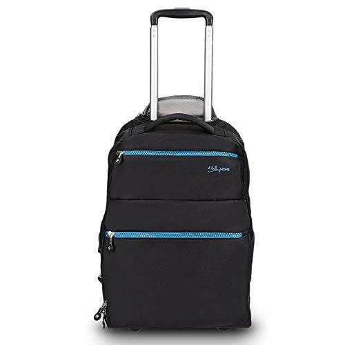 HollyHOME 20 inches Large Storage Multifunction Travel Wheeled Rolling Backpack Luggage Books Laptop Bag, Black