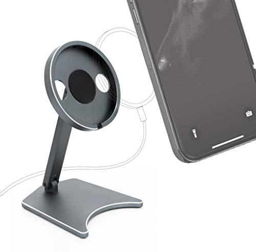 MyGadget Soporte Móvil Compatible con Apple MagSafe - Charger para iPhone 12 Mini Pro MAX - Base de Carga Magnético/Dock Station para Mesa - Silver