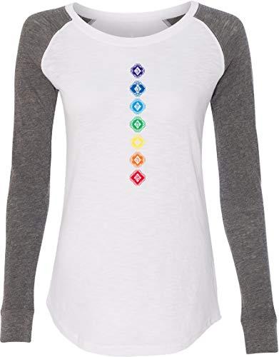 Diamond Chakras Ladies Preppy Patch Elbow Yoga tee Shirt White Medium