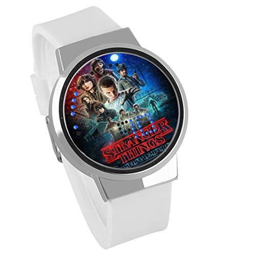 Armbanduhren,Touchscreen LED Uhr Stranger Things Film Wasserdicht Nachtlicht Elektronische Uhr Trend Geburtstagsgeschenk Silber Shell Leucorrhea