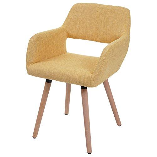 Chaise de Salle à Manger HWC-A50 II, Fauteuil, Design rétro des années 50 - Tissu, Jaune