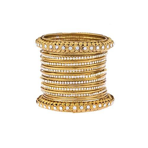 Efulgenz Boho Vintage Antiek Gypsy Tribal Indiaas Geoxideerd Goud vergulde kristallen armbanden Bangle Set Sieraden (25 Pc)