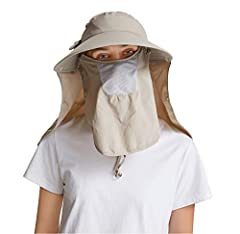 "Women Wide brim Sun Cap with face masks,Bowknot Sunblock Hats(Flaps are removable),Head circumference about 22.6"", which is suitable for most adults, 6.2"" head brim & 10.7"" neck flap provide great protection of your face, neck and ears, prevent your ..."