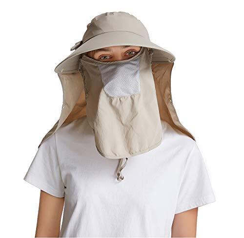 icolor Women's Sun Cap UPF+50 Detachable Face Neck Flap Visor Hat Wide Brim UV Sun Protection Hiking Hats (Khaki)