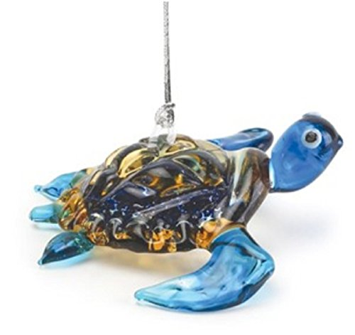 Dynasty Gallery Glass Blue Baby Sea Turtle Hanging Ornament 26888B