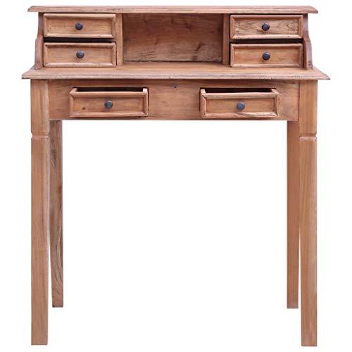 Festnight Schreibtisch mit 6 Schubladen und 1 Fach Sekretär Computertisch Bürotisch Arbeitstisch 90×50×101 cm Massives Altholz