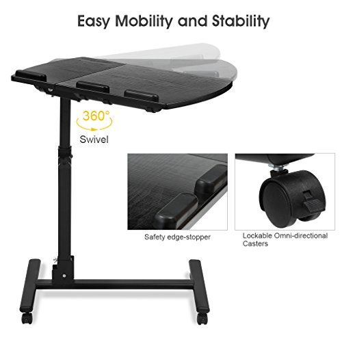 LANGRIA Laptop Rolling Cart Table Height Adjustable Mobile Laptop Stand Desk Photo #3