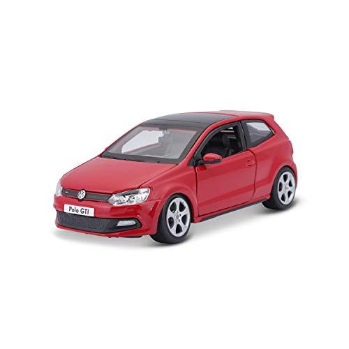 Bburago VW Polo 5 GTI : Modellauto im Maßstab 1:24, Türen und Motorhaube zum Öffnen, lenkbar, 19 cm, rot (18-21059)