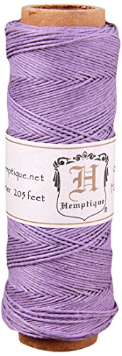 Hemptique 100% Natural Hemp Cord Single Spool - 205ft ~ 62.5m Hemp String Spool - Crafters Number 1 Choice - .5mm Cord Thread for Jewelry Making, Macramé, Scrapbooking, & More - Lavender