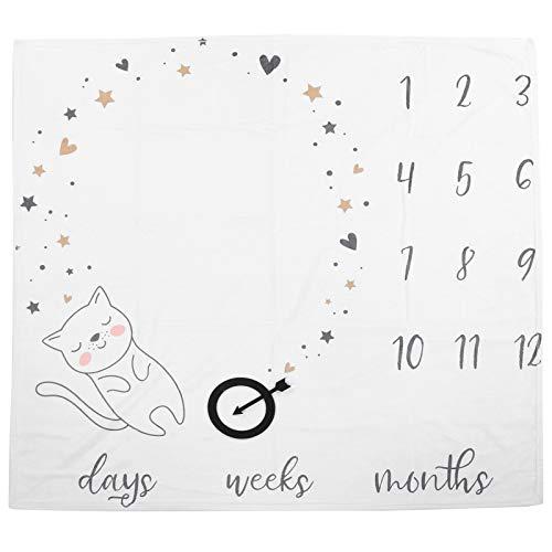 Manta de hito mensual para bebé, telón de fondo para fotografía de recién nacido con gráfico de crecimiento mensual de gato lindo para niña y niño(gato)