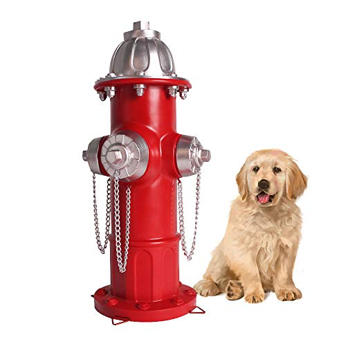 Lathamsea 14.5 Inches Training Dog Puppy Pee Post Fire Hydrant Statue with 4 Stakes for Outdoor Garden Patio Yard Ornament Decorations