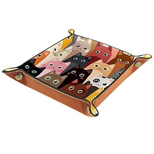 Boîte à montre humoristique en cuir gris jaune avec chats pour clés, téléphone, pièces de monnaie, portefeuille, montres, etc