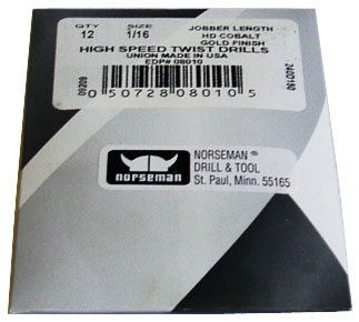 (6 Pk) - 27/64 High Speed Norseman Drill Bits