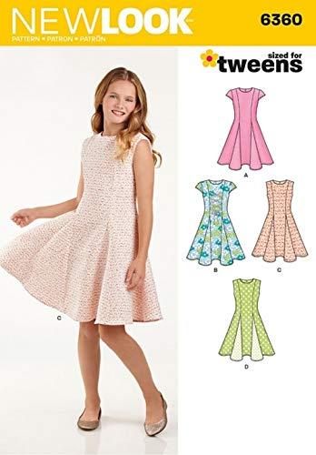 New Look Schnittmuster 6360 Mädchen-KleiderFit & Flare, Bahnen-Kleider