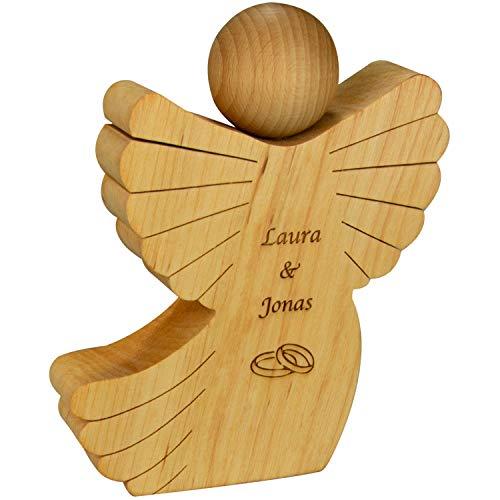 Holz Engel mit Gravur - Holzfigur zur Hochzeit (Ringe) mit Namen personalisiert - kreatives Geldgeschenk für Paare - Hochzeitsgeschenkideen