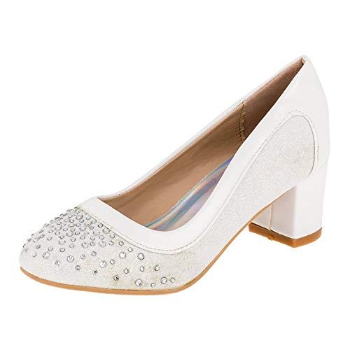 Festliche Mädchen Pumps Ballerina Schuhe Absatz Glitzer in vielen Farben M605ws Weiß 30