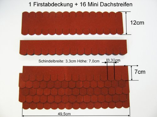 Martinshof Rothenburg Diakoniewerk Mini Dachschindeln Biberschwanz (33 mm) - 2X Set - Rot 23.408 Dachschindel