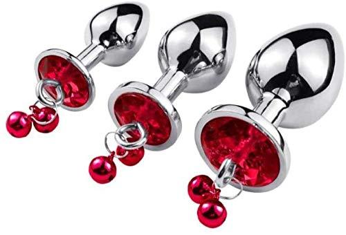 3 rosa konische Spielzeuge aus Edelstahl mit roter Glocke und Kette im Schlafzimmer-rot