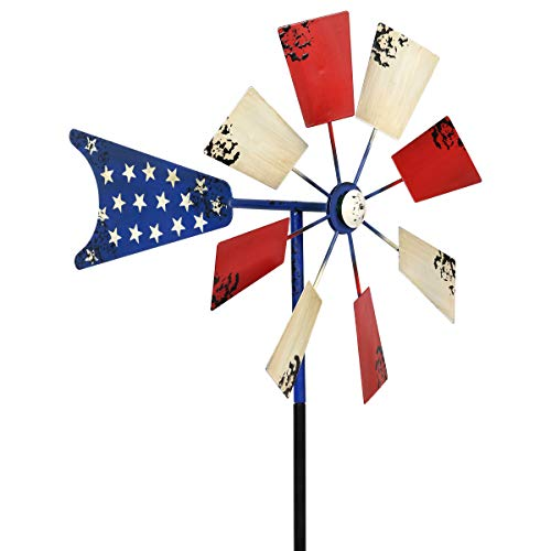 Exhart Yard Pinwheel Decorations – American Flag Windmill Spinner