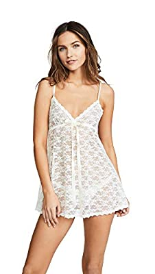 hanky panky Women's Peek-a-Boo Lace Baby Doll with G-String, Light Ivory, Off White, Small