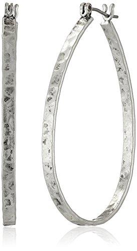Lucky Brand Medium Silver-Tone Oblong Hoop Earrings