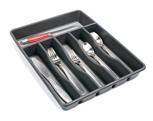 Rubbermaid No-Slip Large, Silverware Tray Organizer, Black with Gray 1994536