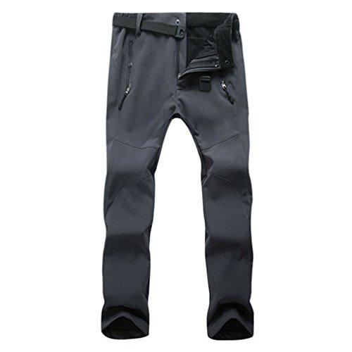 CIKRILAN Femmes Outdoor Polaire Soft Shell Pantalon Hydrofuge Coupe-Vent Sports Trousers Dames Respirant Randonnée Camping Pantalon (3XL, Gris)