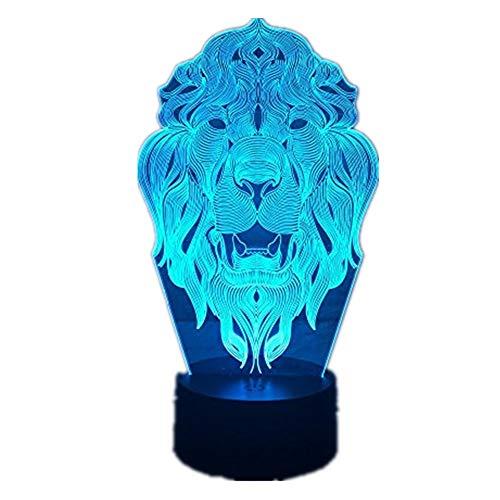 Nachtlicht mit Löwengesicht, 7 Farbwechsel-Tier-LED-Nachtlichter, 3D-LED-Schreibtischlampe als Heimdekoration