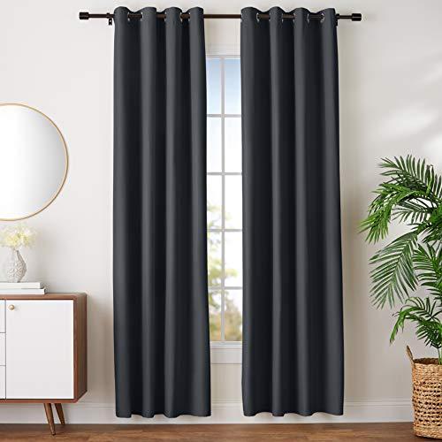 "Amazon Basics Room Darkening Blackout Window Curtains with Grommets - 42"" x 96"", Black, 2 Panels"