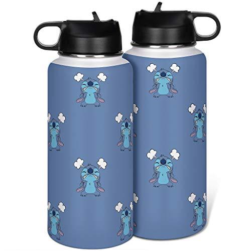 Generic Branded Stitch - Botella de agua deportiva de acero inoxidable con tapa de pajita aislada para regalos para amigos (1000 ml), color blanco