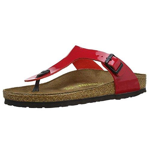 Birkenstock Gizeh, Zapatillas de estar por casa con talón abierto Unisex adulto, Rojo (Tango Red Lack), 39 EU