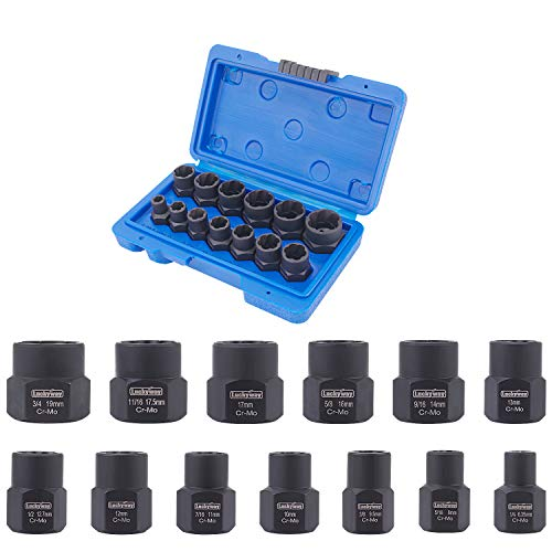 Luckyway 13-Piece Impact Bolt & Nut Remover Set, Nut Extractor Socket, Bolt Remover Tool Set