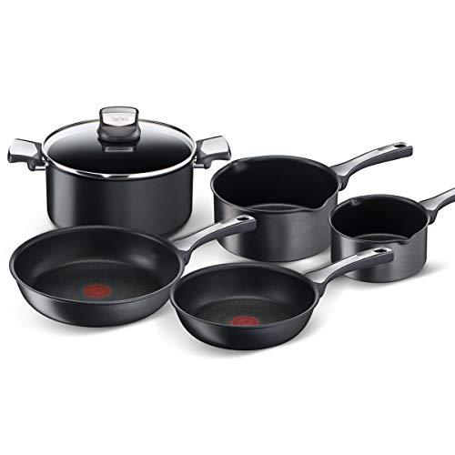 Tefal Unlimited On - Juego de 2 Sartenes y 3 Cazos + Tapa: 2 Sartenes 20/26 cm, 3 Cazos 16/20/24 cm de acero inoxidable, sartenes antiadherentes, tapa cristal, Thermo-Signal, todo tipo de cocinas