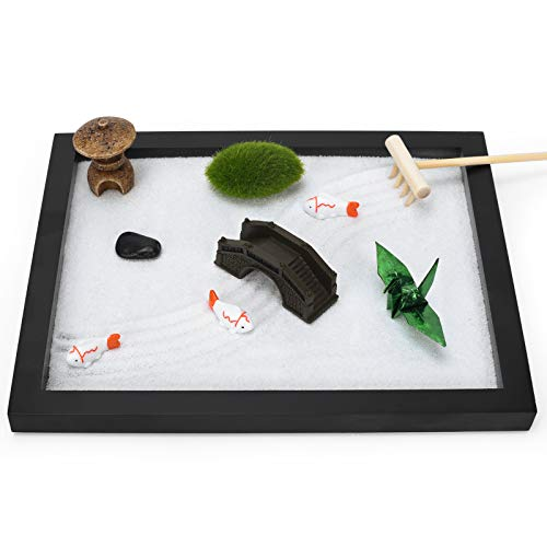 Zen Garden Desktop Tabletop with Buddha Sand Plant Rake for Office Home Indoor and Outdoor Meditation Soothing Effect Calming Feel