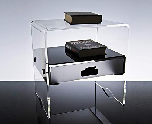 Slato Comodino con cassetto Design Moderno in plexiglass Morfeo (41 × 35 × h 43 cm)