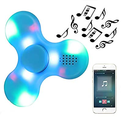 Kivors LED Light Fidget Spinner, Clear Led Crystal Hand Spinner Stress Release EDC Toys with Wireless Speakers for Children Adults from Kivors