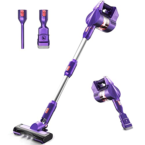 Cordless Vacuum 265W Powerful Suction Stick Vacuum KOXXBASS Lightweight 3 Speed Modes Vacuum Cleaner with LED Headlights Detachable Battery for Home Hard Floor Carpet Car Pet Hair Furniture
