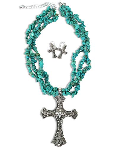 Blazin Roxx Women's Turquoise Stone Triple Strand Cross Charm Necklace And Turquoise One Size