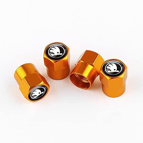 Tapones para Válvulas de neumáticos de Coche Compañe con Skoda Kodiaq Superb Kamiq Octavia Fabia Rapid Yeti Stripe Reflective Coche Nuevo 4 unids 3D Metal Rueda de metal Válvula de neumático Tapa de l