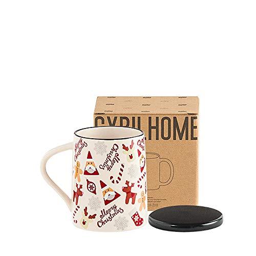 HRDZ Taza de Navidad para Oficina en casa con Tapa Cuchara Taza de cerámica de Gran Capacidad Taza de café Taza de Agua Femenina
