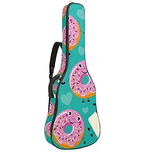 Bolsa de guitarra acústica con múltiples bolsillos acolchado grueso impermeable para guitarra, bolsa de concierto divertida de dibujos animados sonrientes donuts taza de café 42,8 x 42,8 x 11,9 cm