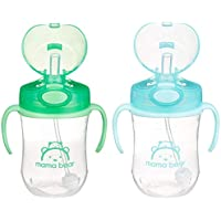 2-Pack Amazon Brand Mama Bear Weighted Straw Sippy Cup