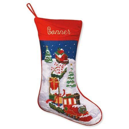 Lillian Vernon Train Personalized Heirloom Needlepoint Christmas Stocking - Wool with Cotton, 9 1/2' x 17'