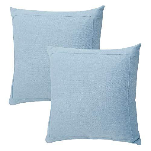 Jepeak Fundas de cojín de Lino y arpillera, Paquete de 2 Fundas de Almohada cuadradas Decorativas y Modernas de Granja, Gruesas y lujosas para sofá y Cama, Celeste (Baby Blue), 16 x 16