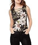 GUESS Womens Dan Floral Sleeveless Shell Black M