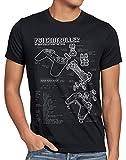 style3 PS1 Controlador Cianotipo Camiseta para Hombre T-Shirt Videojuego videoconsola Classic Gamer, Talla:2XL, Color:Negro