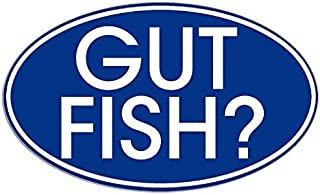 Blue Oval Gut Fish (funny fishing) Sticker- Sticker Graphic Decal