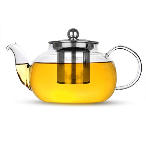 Glass Infuser Teapot | Stainless Steel Loose Leaf Teapot Filter | Heat Resistant Tea & Coffee Strainer | Single Cup Tea Pot | M&W