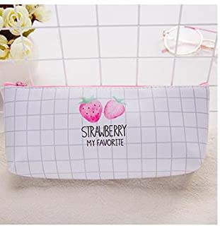 Zmond - Fresh Strawberry in The Summer PU Pencil Bag Stationery Storage Organizer Bag Boys&Girls Pencil Case for School Su...